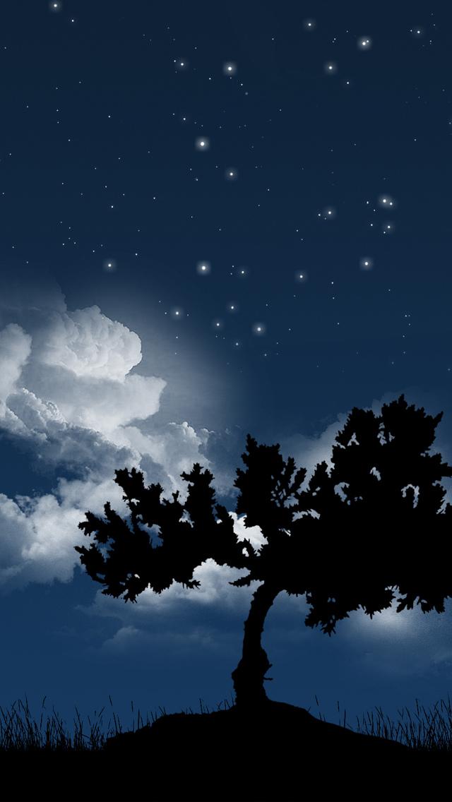 木 夜 星空 スマホ壁紙