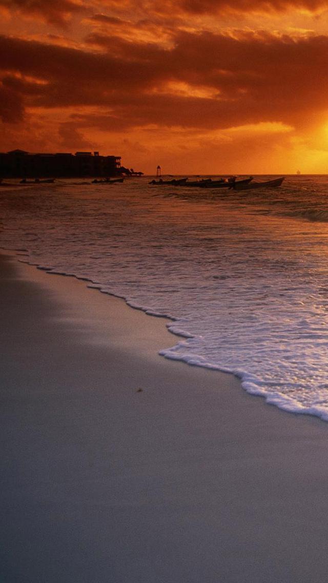 海と夕日 携帯待ち受け